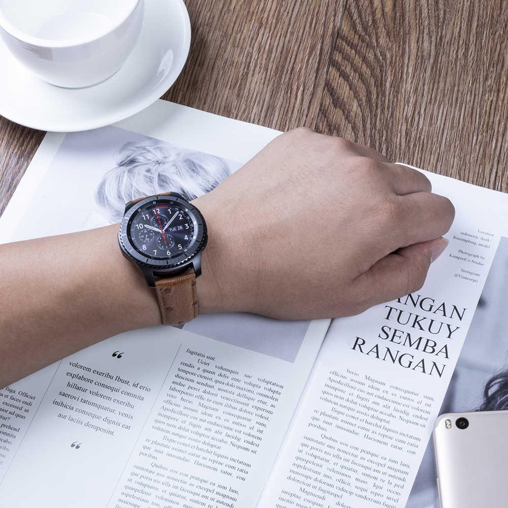 BEAFIRY นาฬิกาหนังแท้สายรัด 20 มม. 22 มม. huami amazfit สร้อยข้อมือนาฬิกาสำหรับ Samsung Galaxy เกียร์ S2 /S3/S4