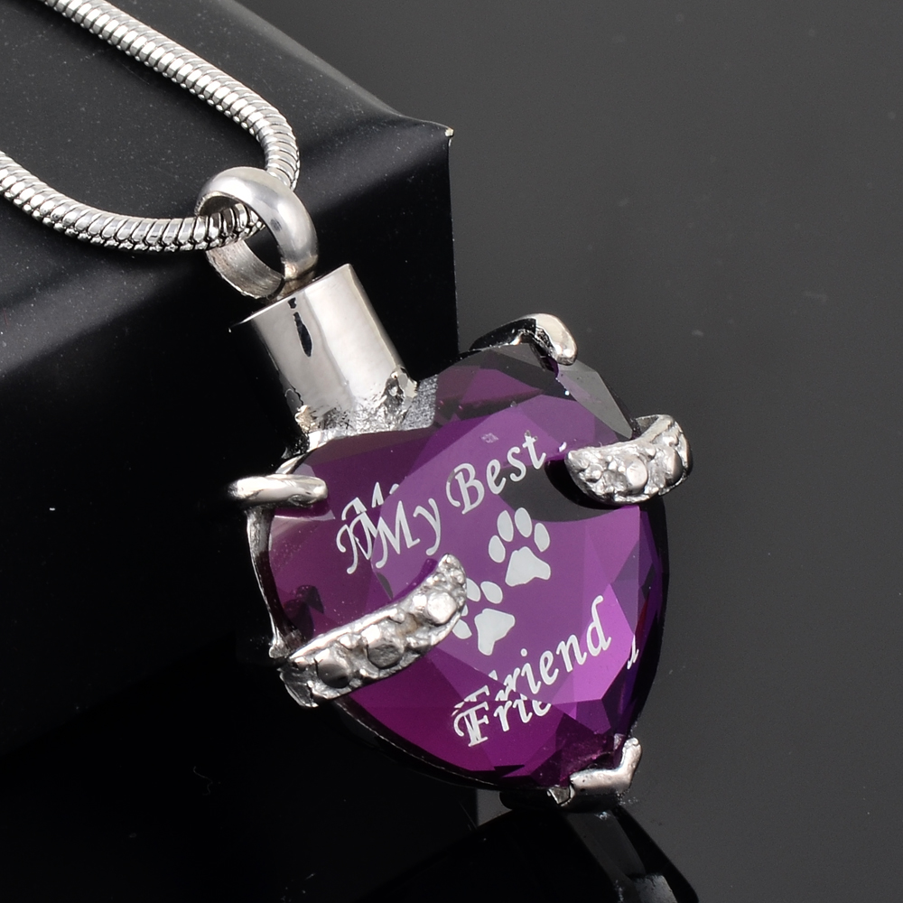 Hold Love Memorial Jewelry Pet Dogs Cats peach/purple Rhinestone Heart Urn Cremation Urn Pendant Necklace Womens Hot Sale