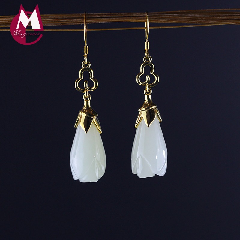 Women Gold-color Jade Earrings 100% 925 Sterling Silver Earrings For Women Fine Magnolia Flower Fashion Engagement Jewelry SE46