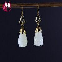 Women Gold color Jade Earrings 100% 925 Sterling Silver Earrings For Women Fine Magnolia Flower Fashion Engagement Jewelry SE46