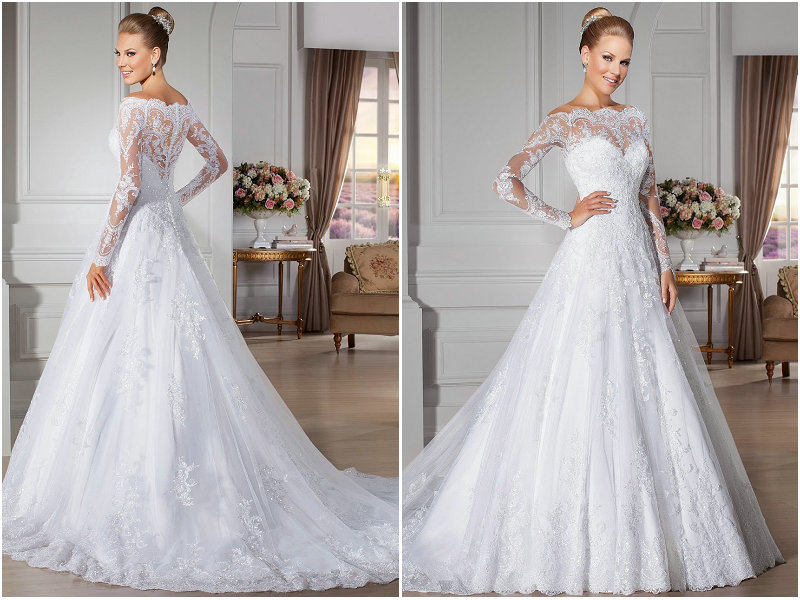 A Line Wedding Gown With Sleeves
