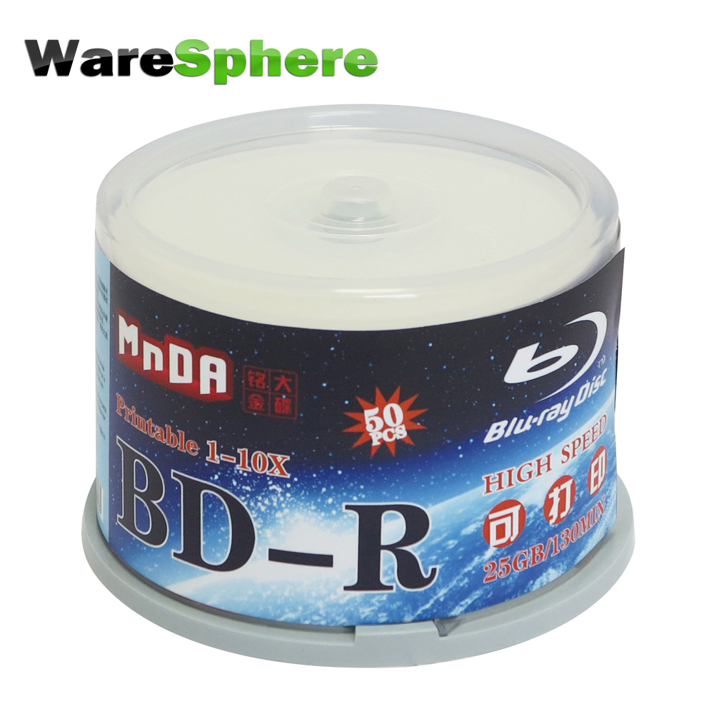 Blank Disks Grade Eine Bd-r 25 Gb 1x-10x Blu Ray Disc Blank Bluray Disc Inkjet Druckbare Blu-ray Disc-50 Pcs Spindel Box