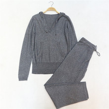 2017 winter Wool Tracksuits Spring Fashion brand Female Hooded Suit Knitted Mink Cashmere Sweater Leisure Trousers suit wj80