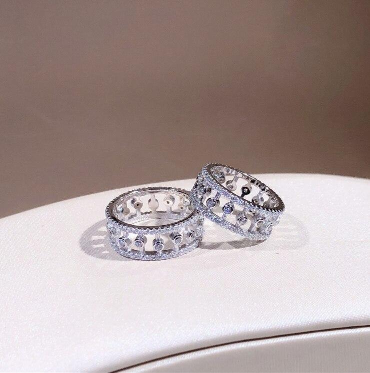 Authentique bague en argent Sterling 925 pour femmes zircon cubique clair CZ fille Birtthday cadeau de fête de mariage bijoux de qualité supérieure