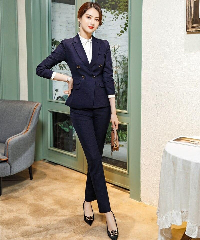 2019 Formal Ladies Pant Suits Set Women Business Pants Suits Blazer and Jacket Uniform Styles Office Suits for Women Blazers Set