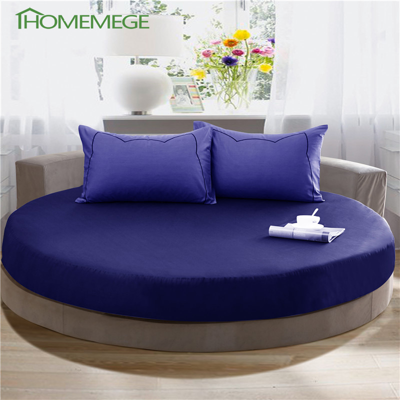 bedding set 2pcs 100 cotton round beds 1 fitted sheet pillowcase royal blue luxury 200cm 220cm. Black Bedroom Furniture Sets. Home Design Ideas