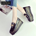 COOTELILI 35-39 Spring Wedges Flat Platform Women Comfort Patent Leather Loafers Sleeves Chain Oxford Casual Solid Ladies Shoes