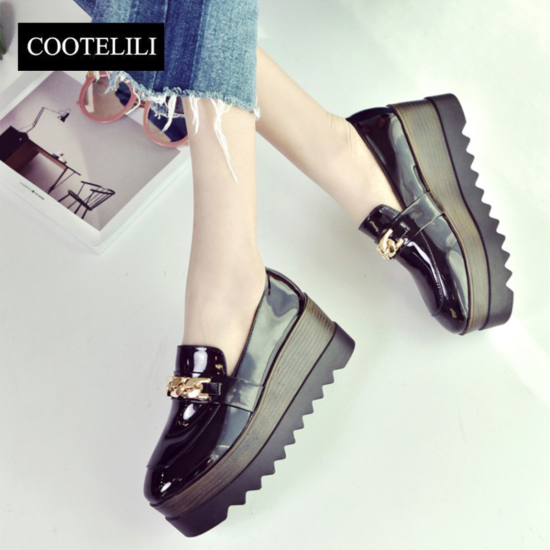 COOTELILI 35-39 Spring Wedges Flat Platform Women Comfort Patent Leather Loafers Slip-On Chain Oxford Casual Solid Ladies Shoes brand fedimiro spring oxford shoes women patent leather pointed toe slip on flat loafers casual metal buckles ladies flats