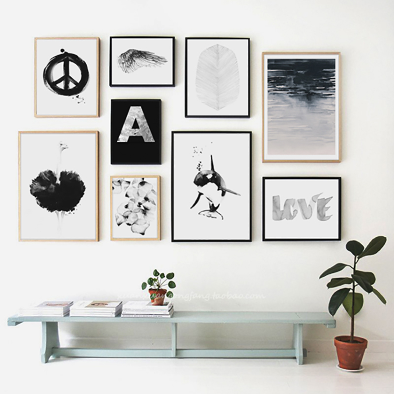 Black girl grey love wall pictures for living room posters - Cuadros posters laminas ...