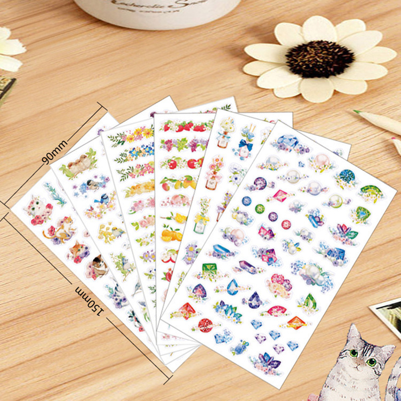 Купить с кэшбэком 72 pcs/lot cat flower garden stickers cat birds fruit sticker decoration for diary phone Stationery School supplies FT956
