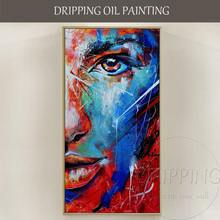 Rich Colors Hand-painted High Quality Abstract Portrait Picture Painting on Canvas Beautiful Wall Art Face Oil