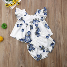 Newborn Baby Girl Summer Clothes Fly Sleeve Ruffle Floral Print Top Short Pants 2pcs Outfit Set
