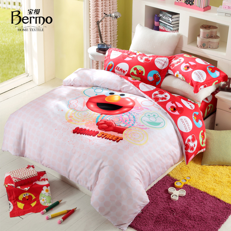Online Shop Home Textile Bedding Sesame Street Child 100% Cotton Four Piece Set  Elmo | Aliexpress Mobile