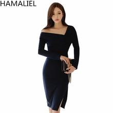 HAMALIEL Women Sheath Long Sleeve Dress 2018 Spring Solid Asymmetrical Collar Bodycon Slim Pencil Ladies Split Party Sexy Dress