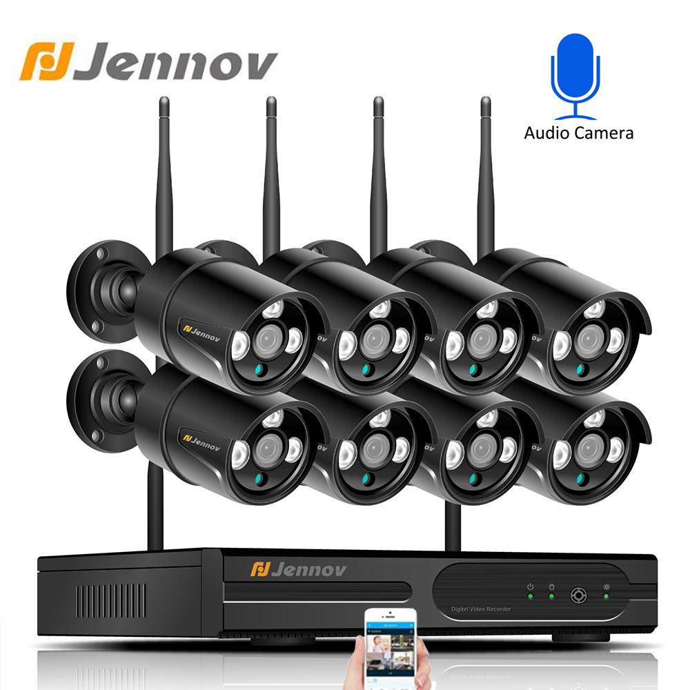 Jennov 8CH 1080P Wifi Wireless Security Camera System Outdoor Video Surveillance Kit IP Camera NVR Set CCTV Waterproof IPP ipCam