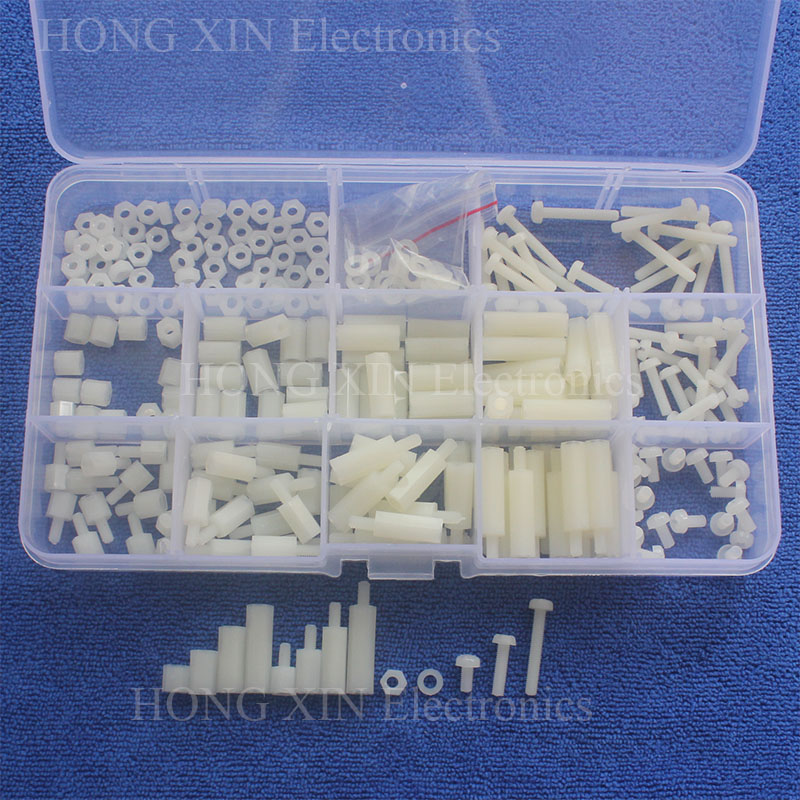 260Pcs M3 Female-Female Spacers Standoff PA66 PCB Threaded Free Shipping Hex Column Bolt Assortment Kit Set Fastener Hardware