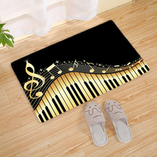 Vintage Simple Music Notes Print Floor Mat Flannel Non-slip Doormat Flannel Entrance Bathroom Rug Carpet Livingroom Home Decor