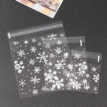 50pcs cute White snow flower Candy cookie dessert Bags Wedding Birthday Party Craft Self-adhesive Plastic Biscuit Packaging Bags(China (Mainland))