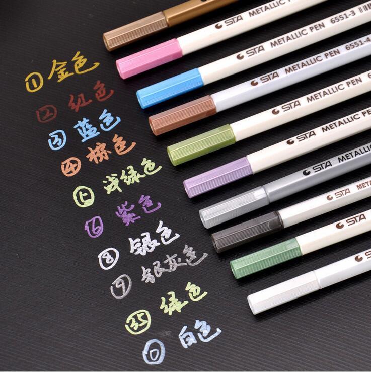 10 Colors Lot Sta Metallic Marker For Black Paper Creative