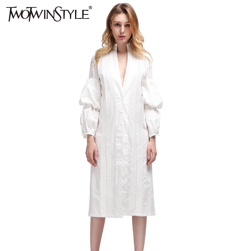 TWOTWINSTYLE 2019 Depp V Neck Women s Blouses Shirts Puff Long Sleeve feminine White blouse Big