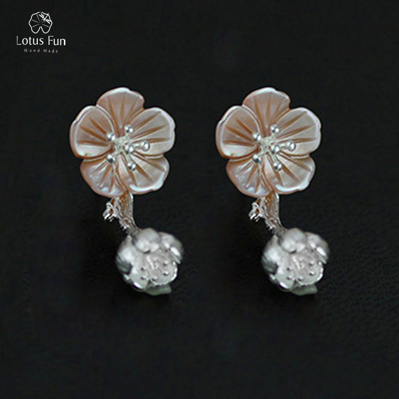 Lotus Fun Real 925 Sterling Silver Drop Dangle Earrings for Women Natural Double Sided Unique Begonia Flower Earing Fine Jewelry