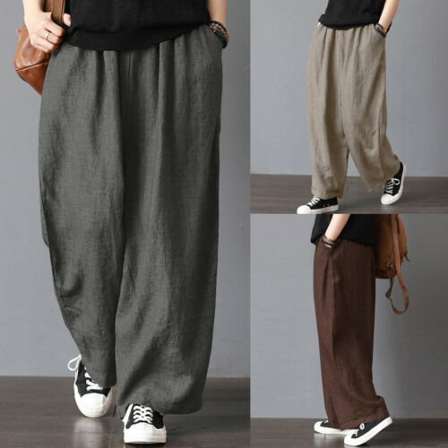 Fashion Men Women Elastic Waist Soft Cotton Linen Long Pants Loose Wide Leg Pants Fit Casual Trousers Plus Size
