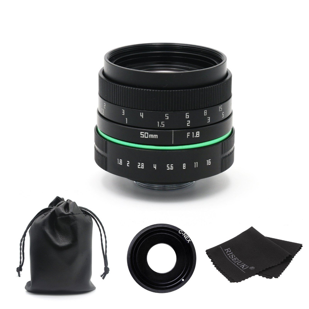New 50mm f/1.8 C mount camera Lens  APS-C sensor for Sony E NEX-7 5T 6 A5100 A6000 camera mirroless 25mm f1 4 c mount camera lenses for aps c m4 3 fx eosm n1 p q nex e p1 e pl1 g1 gf1 gh1 nex 3 nex 5