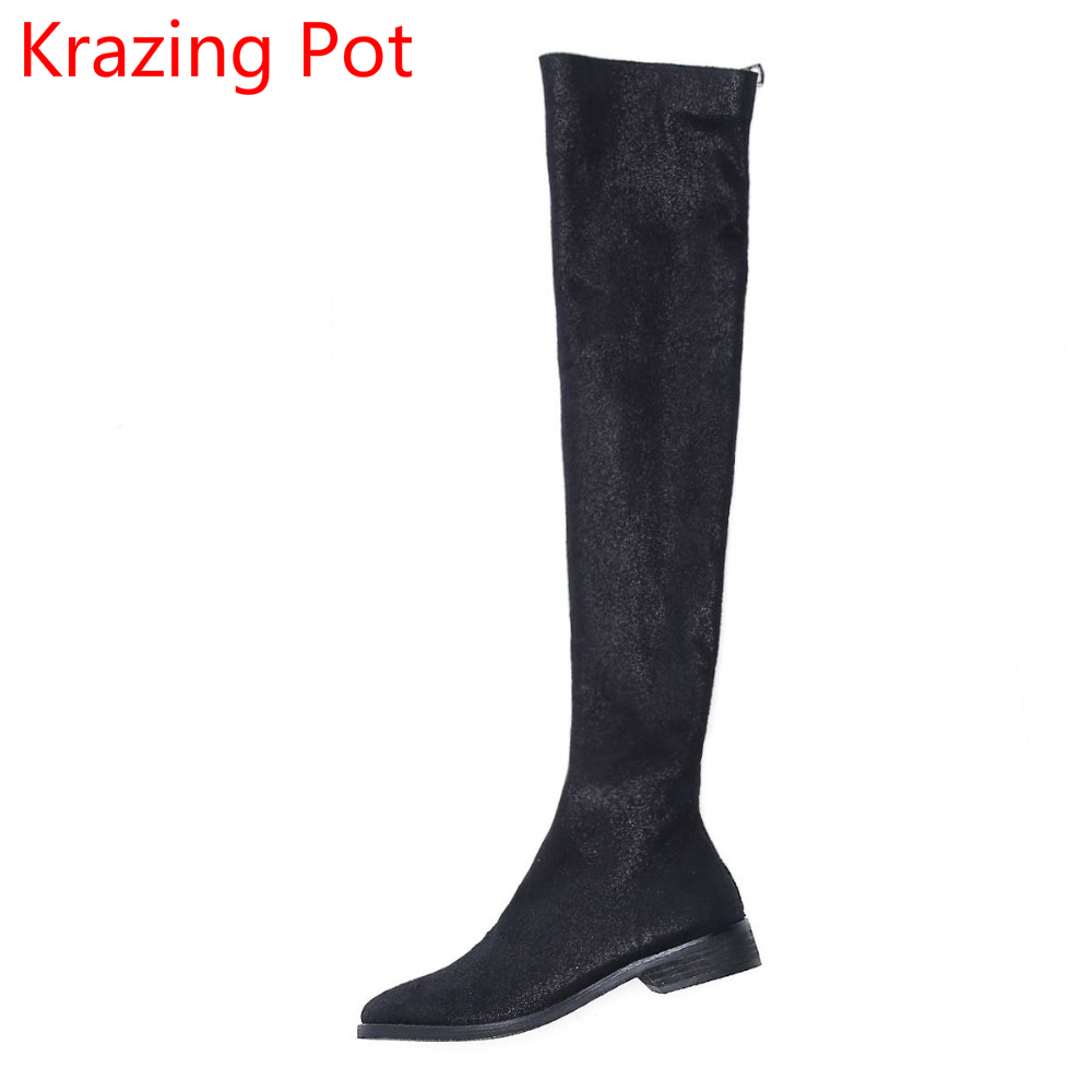 New Arrival Round Toe Thick Heel Fashion Winter Boots Runway Handmade Thigh High Boots Zipper Sexy Women Over-the-knee Boots L99 nayiduyun new fashion thigh high boots women genuine leather round toe knee high boots high heel party pumps casual shoes