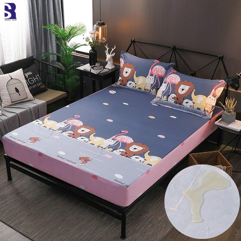 SunnyRain 3 Piece Cartoon Waterproof Fitted Sheet Set Cotton Bedsheet For Kids Bed Sheet Mattress Protector Pocket Depth 30cm