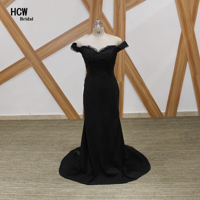 Black Mermaid Bridesmaid Dresses 2018 Elegant Boat Neck Cap Sleeve ...