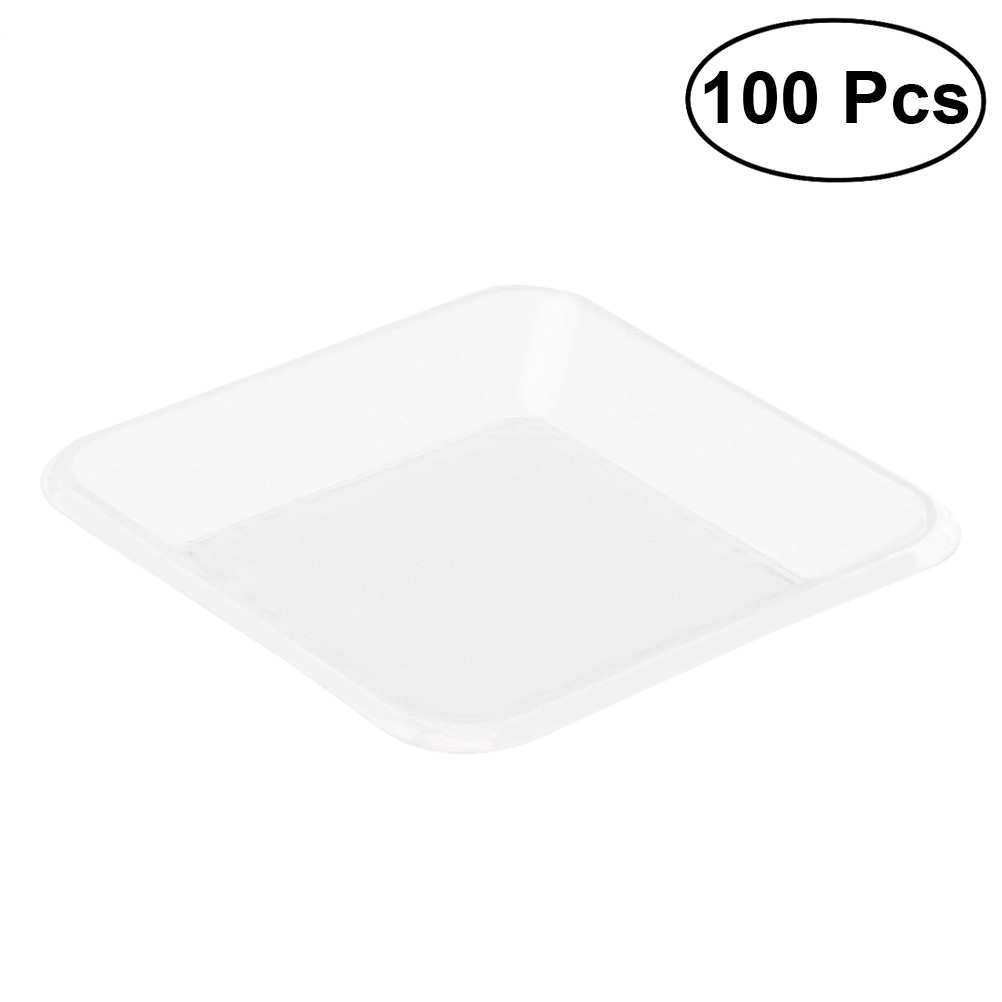 100 Pcs Pet Disposable Transparent Tray Premium Durable Fresh Fruit Tray to Coffee Table Butler Tea Breakfast Food coffee table