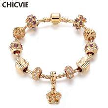 Женские браслеты и chicvie браслет из стеклянных бусин с золотыми