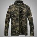 2016 Primavera Chegam Novas camuflagem homem carga Estilo Militar gola homens Jaqueta de manga longa casaco outwear Exército Verde
