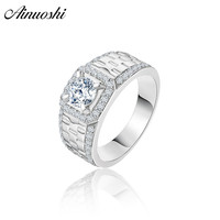 AINOUSHI Classic 925 Sterling Silver Men Watch Wedding Engagement Rings 1 Carat Round Cut Male Silver Anniversary Watch Rings