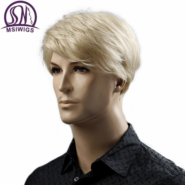 MSIWIGS Court Blonde Mâle Synthétique Perruques Américain Européenne 6 Pouce Droite Hommes Perruque avec Livraison Chapeau de Cheveux Résistant À La Chaleur 3