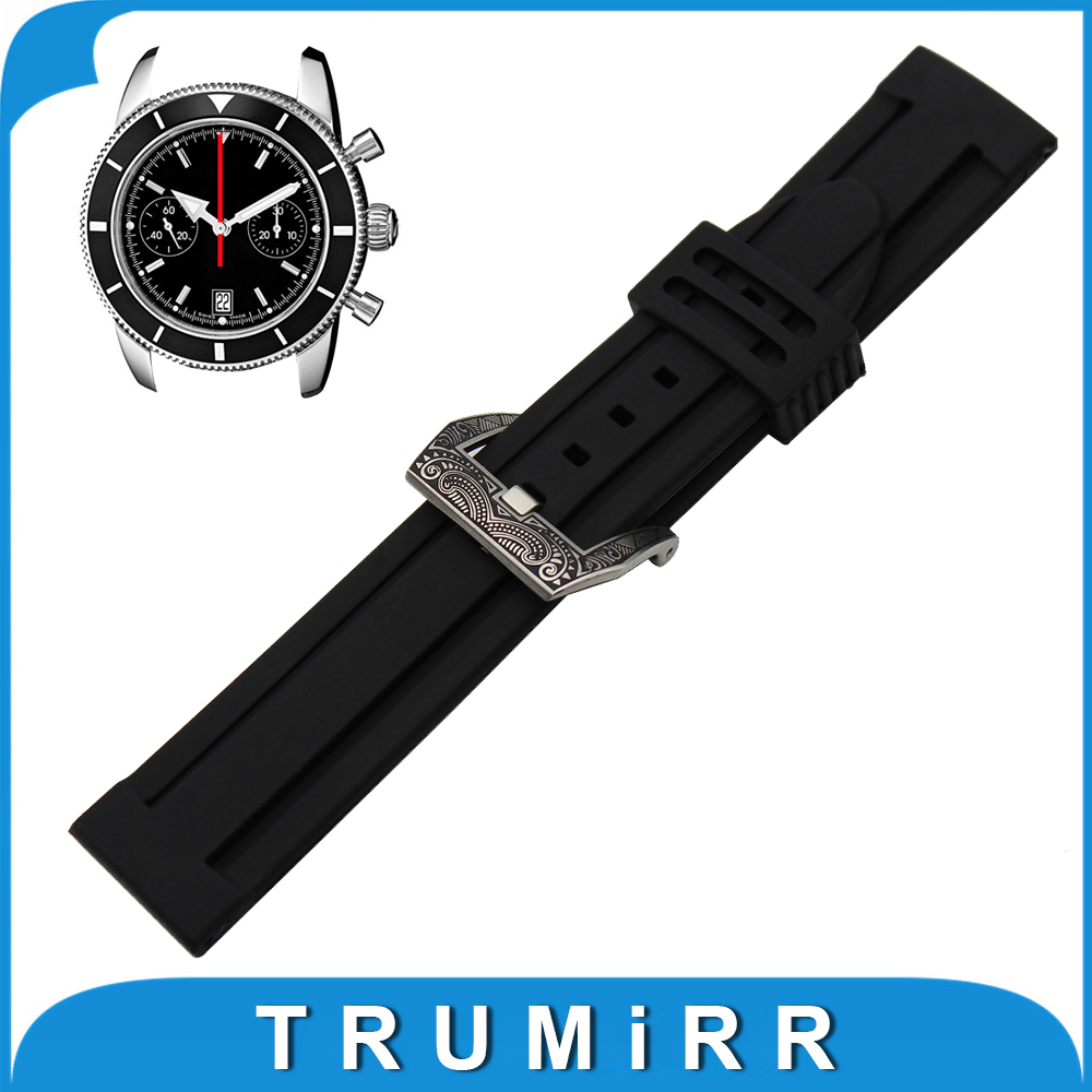 22mm 24mm Silicone Rubber Watch Band + Tool for Breitling Stainless Steel Carved Pre-v Buckle Strap Wrist Belt Bracelet Black 23mm 24mm silicone rubber watch band for tissot 1853 t035 t087 men stainless steel carved pattern buckle strap wrist bracelet