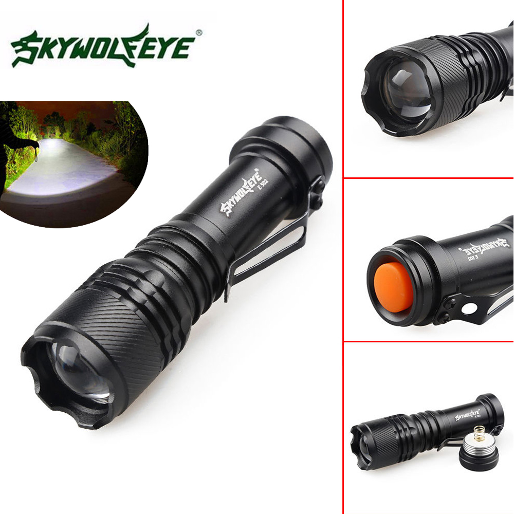SKYWOLFEYE E502 Mini Portable Q5 LED Flashlight Zoomable Waterproof 3 Mode 800LM Pocket LED Torch Lamp Flash Light for Outdoor-in LED Flashlights ...