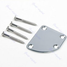 Guitar Accessories New Chrome Deluxe Style Rounded Plate With Screws Neck