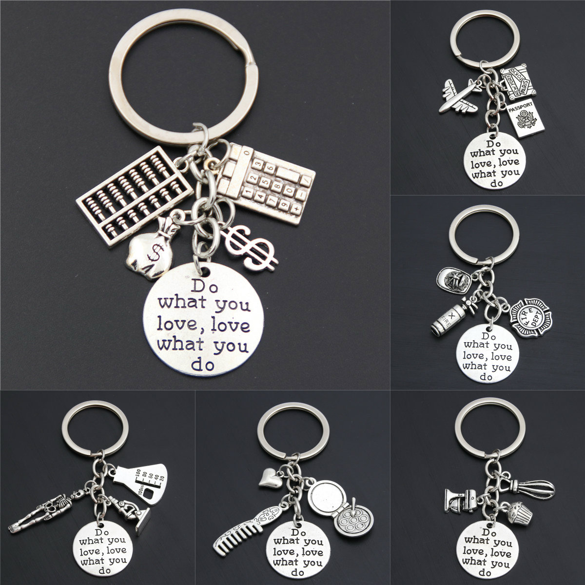 1pc Cook Traveler Firemen Baker Keychain-Inspirational Career Job Gift- Do What You Love Love What You Do Keyring(China)