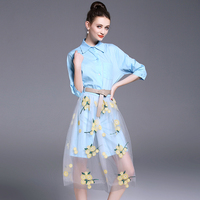 A Suit Women New Lapel Long Summer Shirts Embroidery Net Veil Two Pcs Clothing Set Floral Skirts Brand Design Quality Good S M L