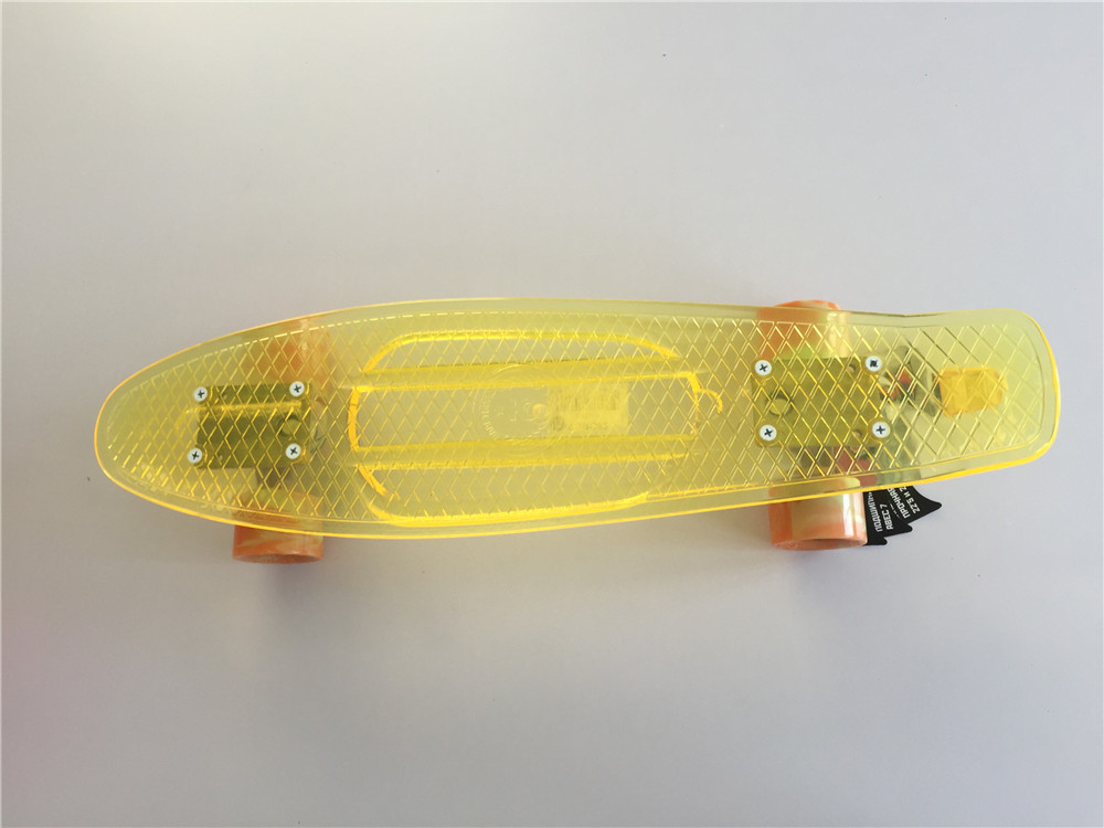 6x22.5 Transparent Yellow Banana Skateboard Mini Cruiser Skateboard Plastic Longboard Skate Board with Plastic Wheels