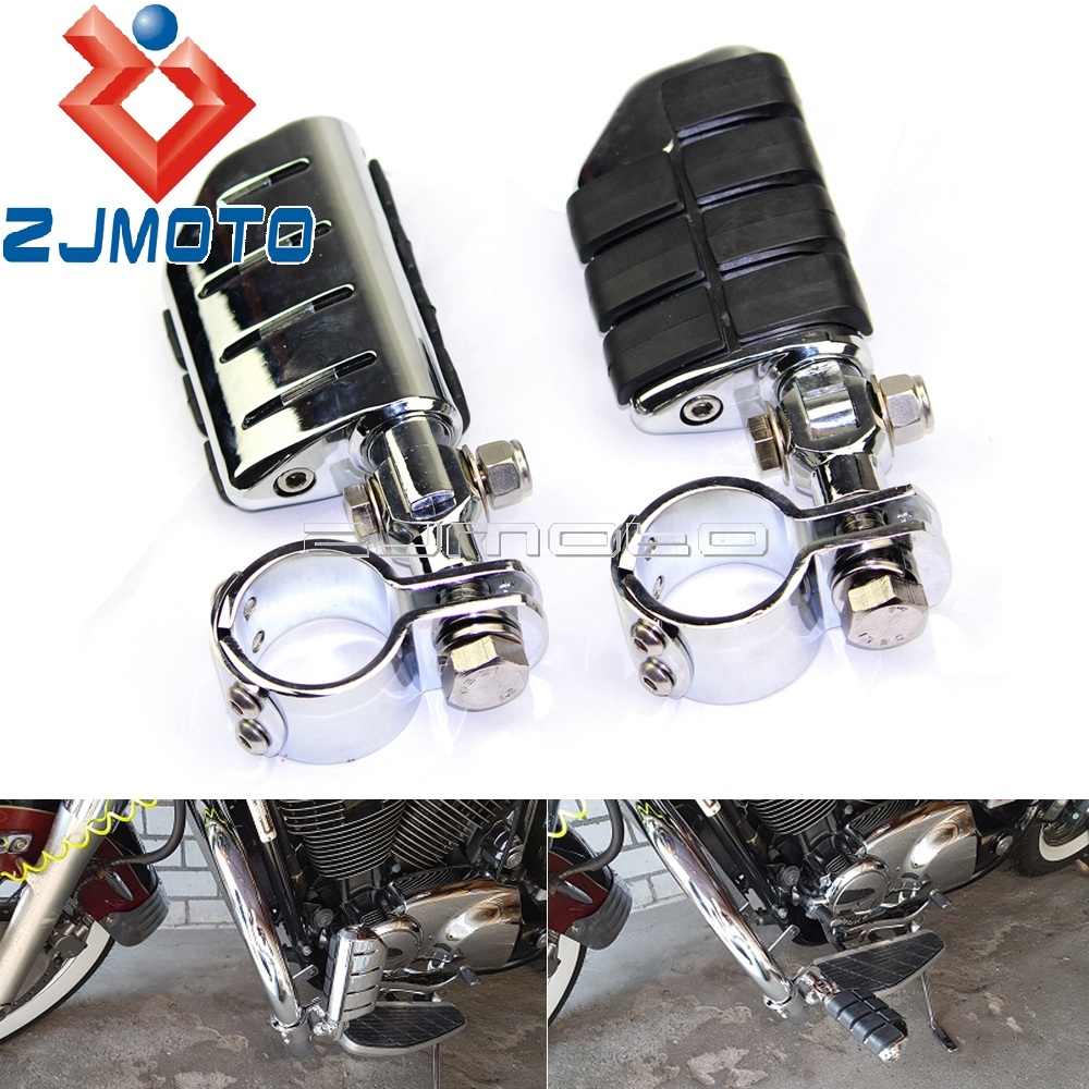 """Motorcycle Chrome Clevis Mount Billet Aluminum Rubber Foot Pegs W/ 1-1/2"""" Clamps For Harley Footpegs Highway Footrests 38mm"""
