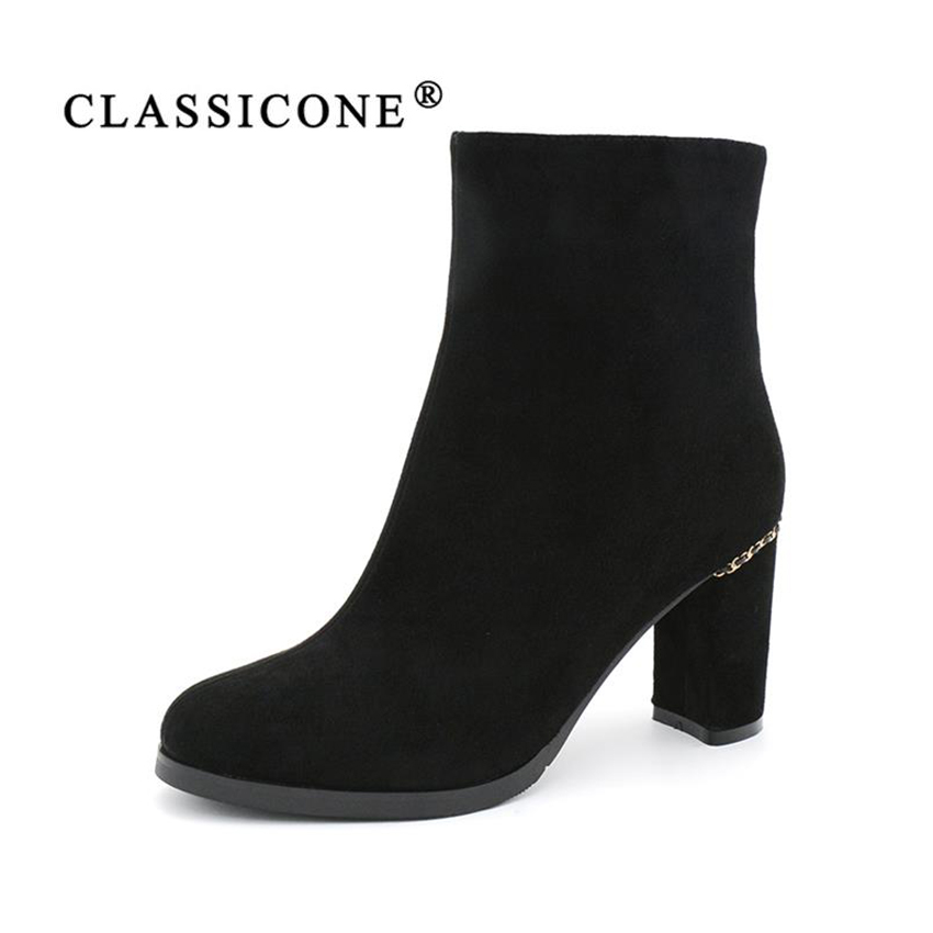 CLASSICONE shoes woman winter ankle boots genuine leather suede warm wool high heels fur snow boots shoes women's brand fashion rizabina genuine leather boots rivet square heels autumn winter ankle boots sexy martin fur snow boots shoes woman size34 39