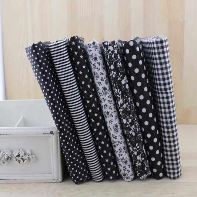7 pcs preto tecido de algodão para costura patchwork quilting diy ofício scrapbooking tilda boneca de pano têxtil