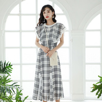 Summer Vintage Women dress Chiffon Lace And White Case Long Black Fungus Dust Dresses Grid 11273