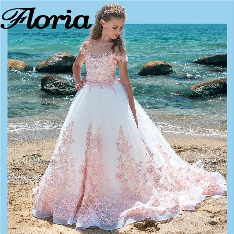 Elegant Pink Flower Girl Dresses For Weddings Vestido de daminha Ball Gown Kids Pageant Gowns First Communion Dress For Girls