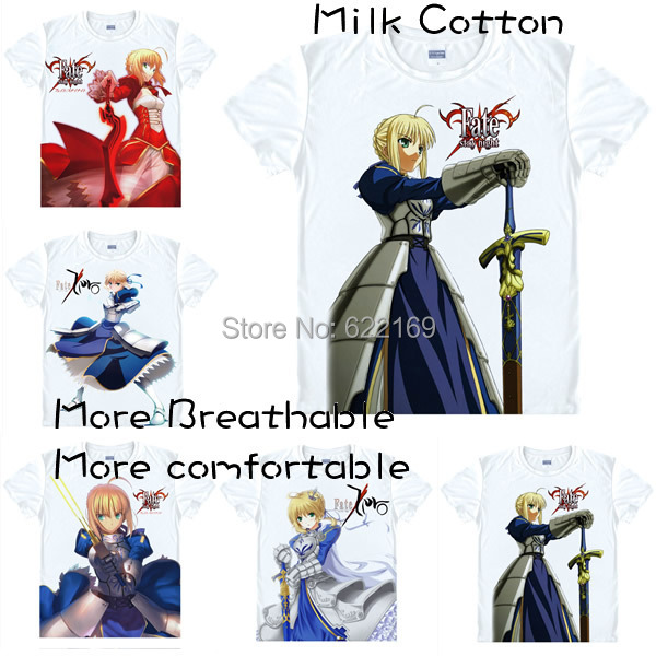 2015 Fashion Men's Unique Anime T-shirt 3d Print Saber Fate stay night Short Sleeve Casual Cosplay T Shirt Camisetas Masculina