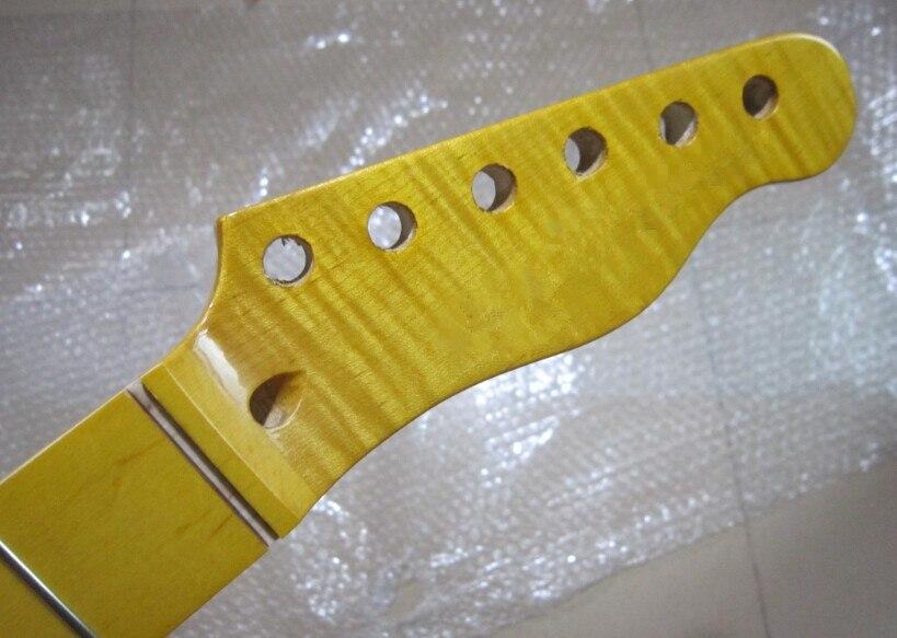 22 fret tiger flame material maple yellow color electric guitar neck wholesale guitar parts. Black Bedroom Furniture Sets. Home Design Ideas