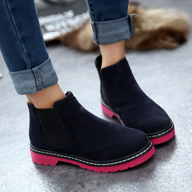 Akexiya Women Flat Chelsea Boots Autumn Winter Round Toe Ankle Boots New  Flock Casual Womens Shoes Fashion Botas Ladies Shoesin Ankle Boots from  Shoes on