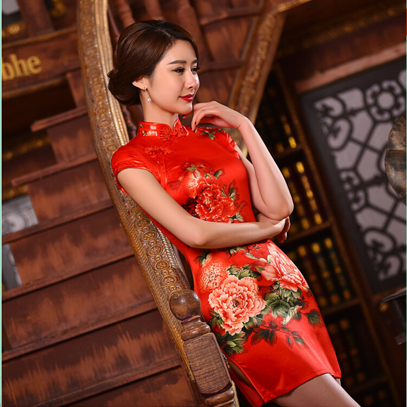New Arrival Fashion Chinese Style Dress Womens Silk Mini Cheongsam Elegant Slim Qipao Clothing Size S M L XL XXL F061704
